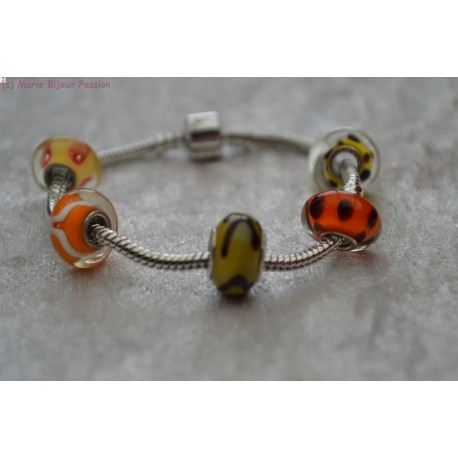 Bracelet style PANDORA orange et jaune
