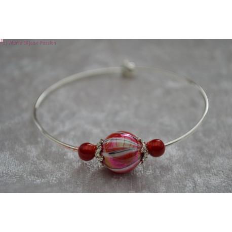 Bracelet argenté perle marbrée rouge