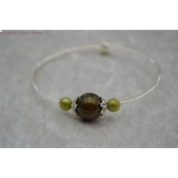 Bracelet argenté perle verte