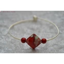 Bracelet perle marbrée rouge et grise