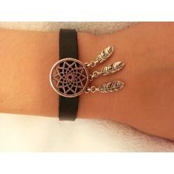Bracelet en cuir attrape-rêve argenté
