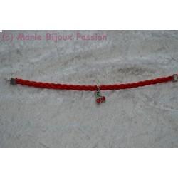 Bracelet simili cuir rouge