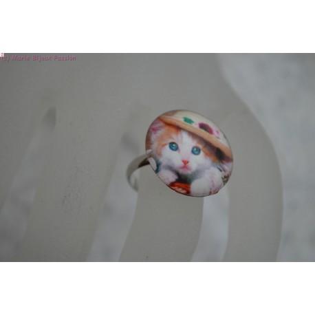 Bague cabochon chat
