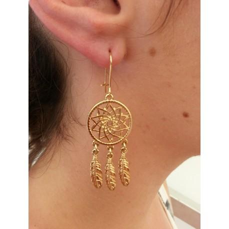 Boucles d'oreilles attrape-rêve plaqué or