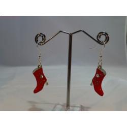 Boucles d'oreilles bottes rouges