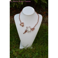 Collier fil alu fleur ivoire