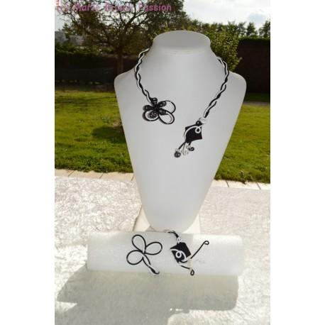 Bracelet en fil alu noir et blanc