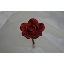Bague Fleur rouge bordeaux