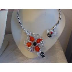 Collier fil alu perles rouges