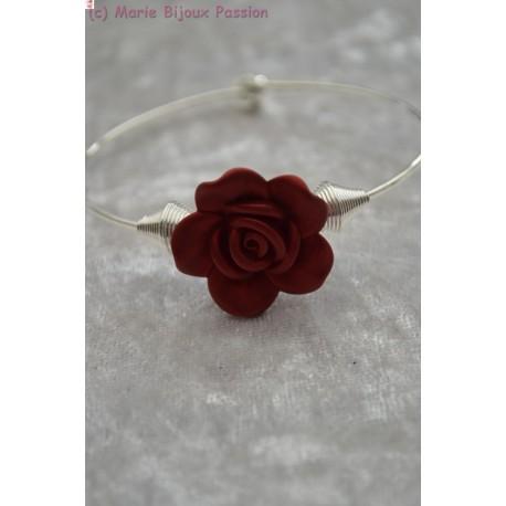 Bracelet fleur bordeaux