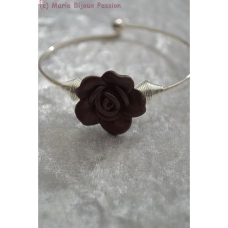 Bracelet fleur taupe