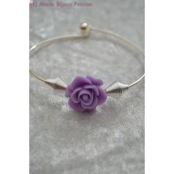 Bracelet fleur mauve