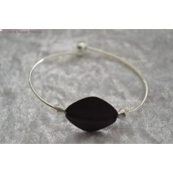 Bracelet argenté perle noire