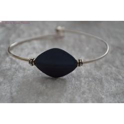Bracelet argenté perle bleue