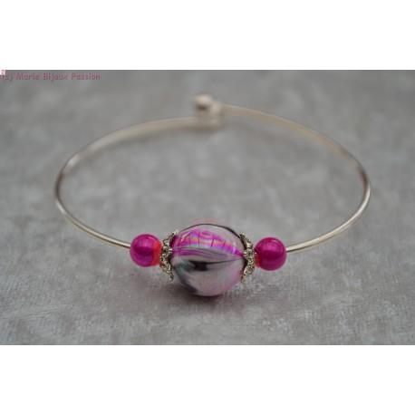 Bracelet argenté perle marbrée rose