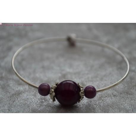 Bracelet argenté perle violette