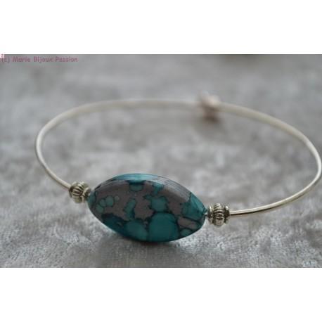 Bracelet perle marbrée bleue et grise