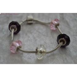 Bracelet style PANDORA rose et prune