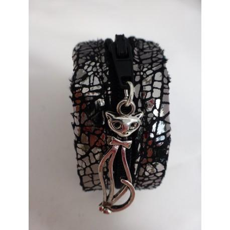 Bracelet fermeture éclair noir et argent