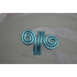 Bague en fil alu couleur turquoise
